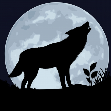 The black silhouette of a wolf howls on a background of the moon
