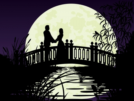 Couple on bridge  Night silhouette of the bridge, people, plants    Vector illustration