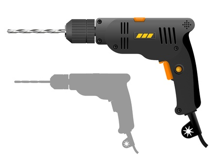Power drill  Gray electric drill  Vector illustration of the power tool    Stock Vector - 21797529