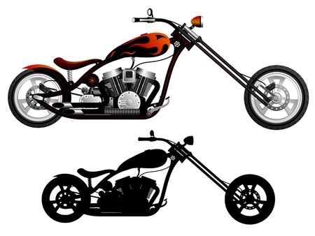 bobber: Motorcycle  Red and black chopper  Bike in color and black silhouette    Illustration