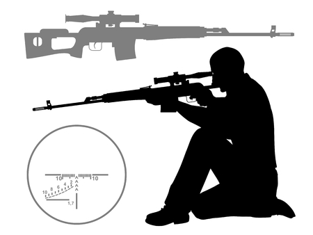 Hunter  The man who shoots from a sniper rifle  Silhouette of a sniper    Illustration