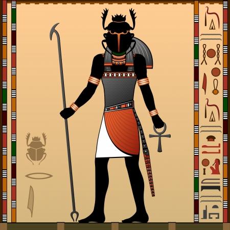scarabeo: La religione dell'antico Egitto Khepri � un dio in egiziano antico religione Scarab Dio Vettoriali