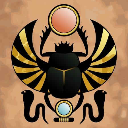 古代エジプト神ケペラのシンボルの古代エジプトのスカラベの宗教  イラスト・ベクター素材