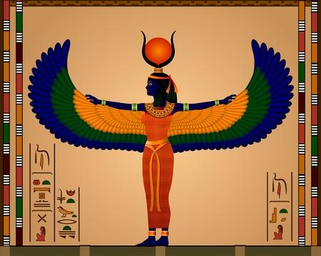 고대 이집트 이시스의 종교 - 고대 이집트 벡터 일러스트 레이 션의 여신