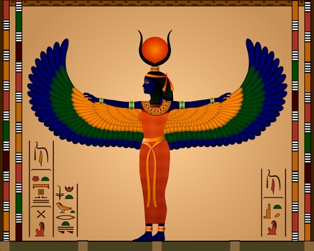 Religion of Ancient Egypt  Isis - the goddess of ancient Egypt  Vector illustration  向量圖像