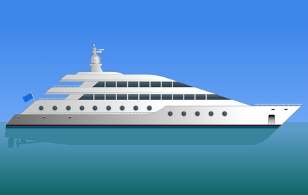 boat motor: Yacht  White motor yacht at sea  Vector illustration
