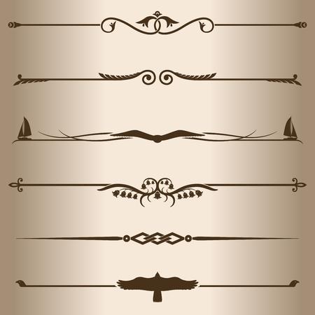 decorative lines: Decorative lines  Elements for design - decorative line dividers  Black Label, jolly roger  Illustration