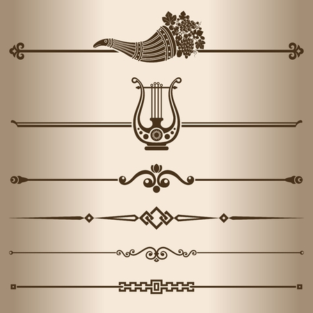 horn of plenty: Decorative lines  Elements for design - decorative line dividers  Vector illustration