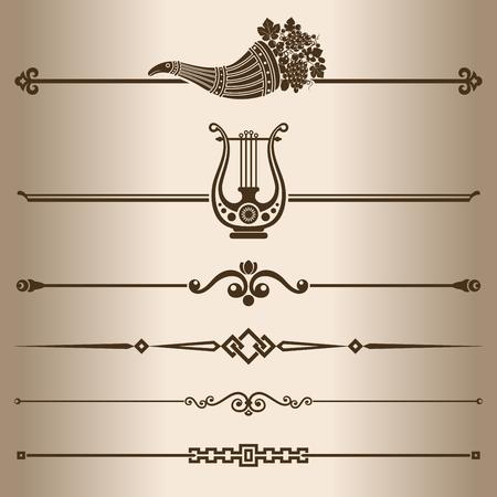 cuerno de la abundancia: Líneas decorativas Elementos para el diseño - ilustración decorativa divisores de línea vectorial