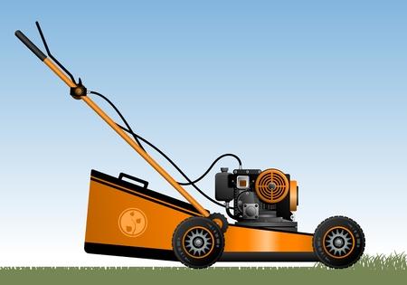lawn mower: Lawn mower  Orange lawn mower on the grass  Vector illustration