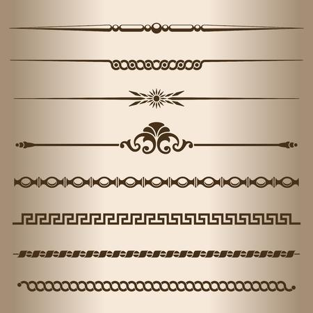 Decorative lines  Design elements - dividing lines and ornaments  Vector illustration  Illustration