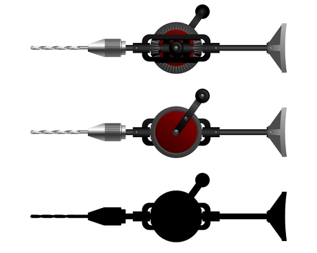 auger: Hand Tools  Carpenter tool - hand drill  Vector illustration