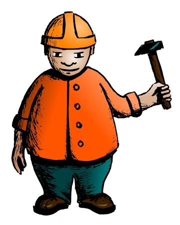 Builder  Angry carpenter with a hammer in his hands  Sketch  Vector illustration  Vector
