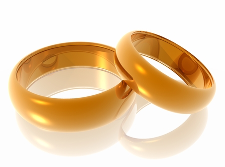 oneness: Wedding rings  Two gold rings on a light background  3d illustration  Stock Photo