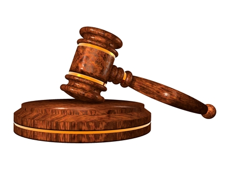 supreme court: Gavel  Auction hammer  Wooden gavel on a stand  3d illustration