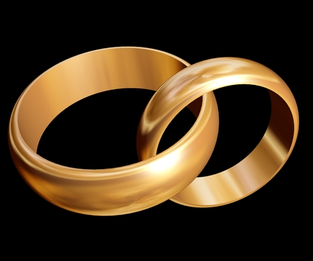 oneness: Wedding rings  Two gold rings on a dark background  3d illustration