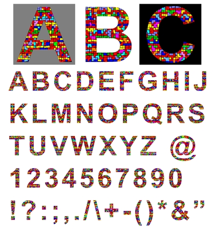 Alphabet  Colorful alphabet  Latin  Vector illustration