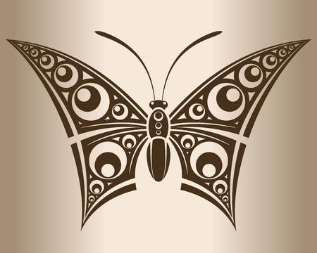 Monochrome butterfly  Decorative pattern of a butterfly  illustration  Illustration