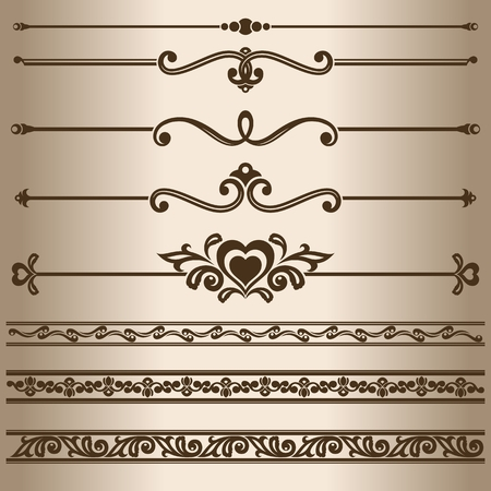 dividing: Decorative lines. Design elements - dividing lines and ornaments.