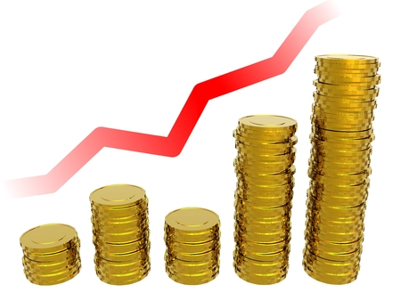 goldish: Gold coins. Gold coins on the background of the chart. 3d illustration. Stock Photo
