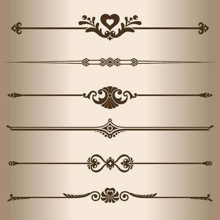 decorative lines: L�neas decorativas. Los elementos de dise�o - l�neas divisorias. Ilustraci�n del vector. Vectores