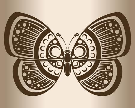 lepidoptera: Monochrome butterfly. Decorative pattern of a butterfly. Vector illustration.