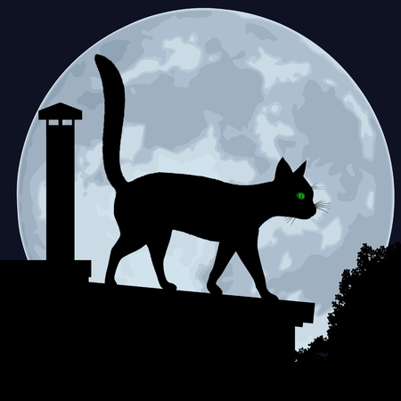 Cat. Silhouette of a cat on the roof, on a background of the moon. Vector illustration.