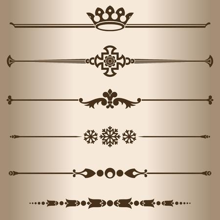 dividing: Decorative lines. Elements for design - decorative line dividers. Vector illustration.