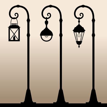 lamp posts: Street lights. Black silhouettes of three different Lamp posts. Vector illustration. Illustration