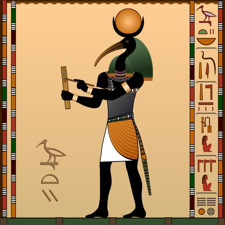 Religion of Ancient Egypt. Thoth - the ancient Egyptian god of wisdom and knowledge. God with the head of an ibis. Vector illustration.