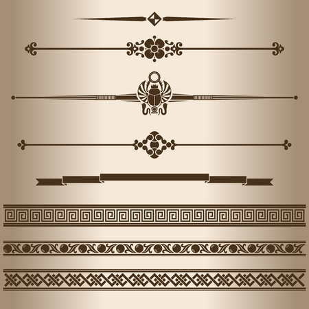 egypt: Decorative lines. Design elements - dividing lines and ornaments. Vector illustration.