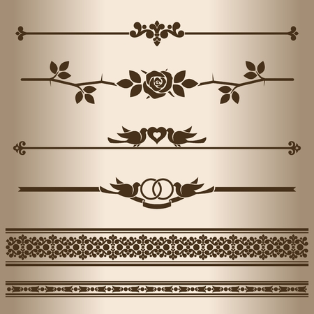 dividing: Decorative lines. Design elements - dividing lines and ornaments. Vector illustration.