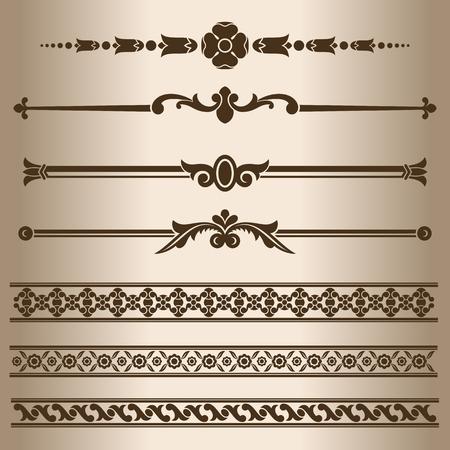 Decorative lines. Design elements - dividing lines and ornaments. Vector illustration.