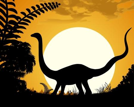 herbivorous animals: Dinosaur Velociraptor. Dinosaur silhouette on sunset background. Vector illustration. Illustration