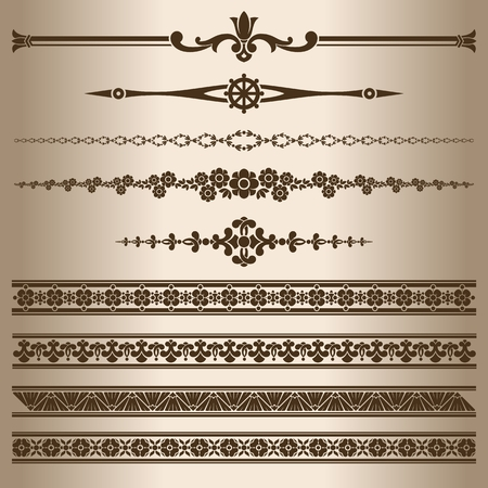 dividing lines: Decorative lines. Design elements - dividing lines and ornaments. Vector illustration.