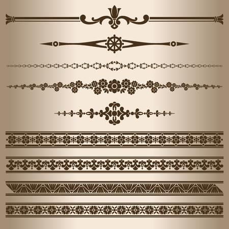 decorative lines: L�neas decorativas. Los elementos de dise�o - l�neas divisorias y adornos. Ilustraci�n del vector. Vectores