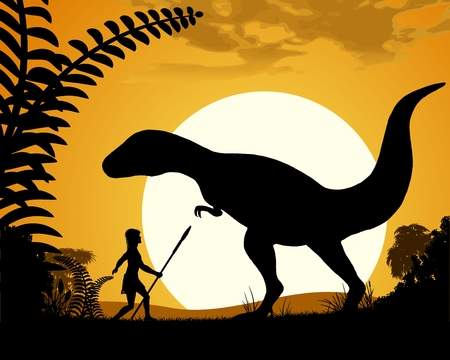 dinosaurs: Dinosaur Tyrannosaurus. Dinosaur silhouette on sunset background. Vector illustration.