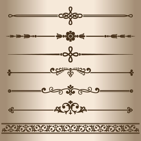 dividing lines: Decorative lines. Elements for design - decorative line dividers. Vector illustration.