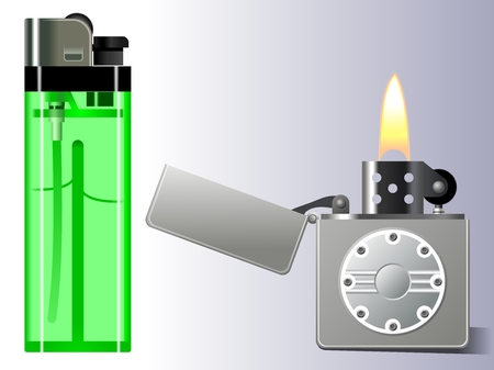 gas lighter: Lighter. Gas and petrol lighter.Vector illustration.