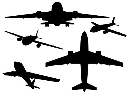 liftoff: Airplanes. Silhouettes of Airplanes. Vector illustration.