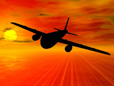 liftoff: Airplan. Airplan silhouette on sunset background. 3D illustration.