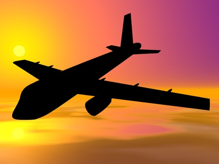airplan: Airplan. Airplan silhouette on sunset background. 3D illustration.