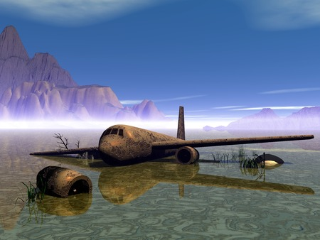 corrosion: Airplan. Old Airplan. Rusty aircraft in a swamp. 3D illustration.