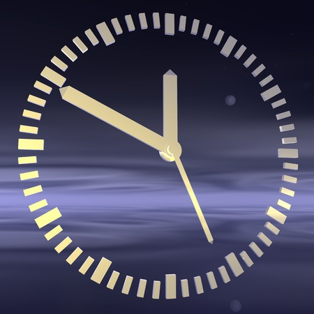 o'clock: Watches. The clock on the background of the night sky. 3d illustration. Stock Photo
