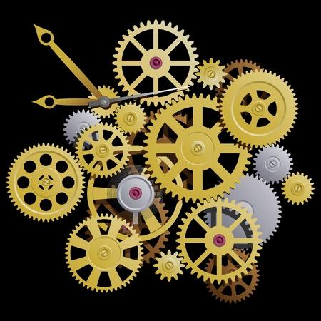 clockworks: Gears. Clockworks on a black background. Vector illustration.