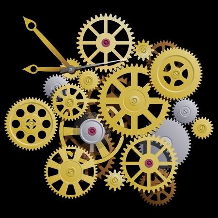 Gears. Clockworks on a black background. Vector illustration.