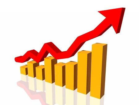stockmarket chart: Financial chart. Graph arrow. 3d illustration.