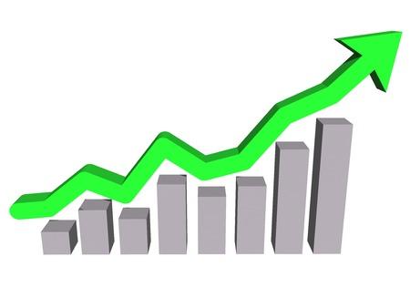financial graph: Financial chart. Graph arrow. 3d illustration.