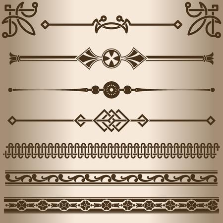decorative lines: L�neas decorativas. Los elementos de dise�o - divisores de l�neas decorativas y adornos. Ilustraci�n del vector. Vectores