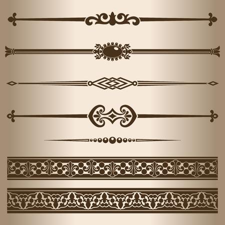 lineas decorativas: Líneas decorativas. Los elementos de diseño - divisores de líneas decorativas y adornos. Ilustración del vector. Vectores